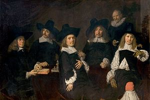Regenten - The Regents of the Old Men's Almshouse at Haarlem by Frans Hals,  1664