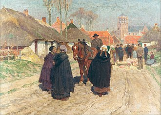 "Belgium in ""the long nineteenth century"" - Market day in the Campine (1910) by Frans Van Leemputten depicts rural life in the Belgian Kempen region"