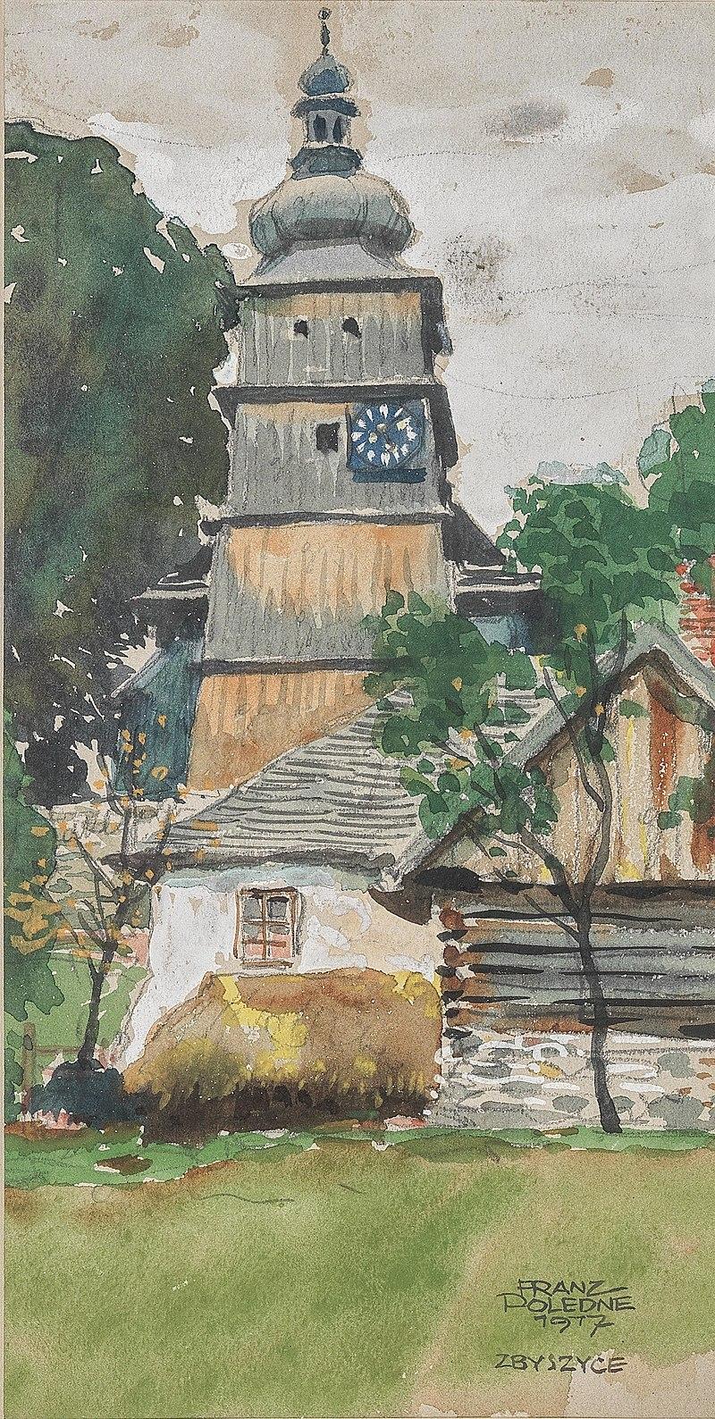 Franz Poledne Kirchturm in Zbyszyce 1917.jpg