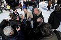 Fredrik Reinfeldt intervjuas av media vid globaliseringsmotet i riksgransen 2008-04-08.jpg