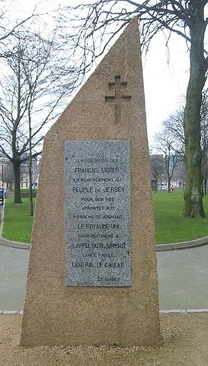 Appeal of 18 June - This monument commemorates those who passed through Jersey in response to the appeal.