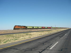 U.S. Route 84 -  BNSF freight train running parallel to US 84 while crossing the Llano Estacado