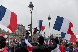 Emmanuel Macron - Macron's supporters celebrating his victory at the Louvre on 7 May 2017