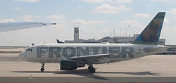 Frontier Airlines plane at Denver International Airport.jpg