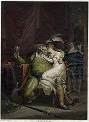 Falstaff acariciando Doll Tearsheet em uma cena de uma peça de Shakespeare