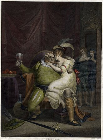 Doll Tearsheet - Falstaff with Doll Tearsheet, print after Henry Fuseli