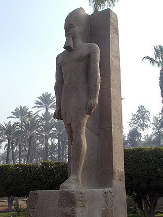 Memphis, Egypt - Sculpture from the Middle Kingdom restored in the name of Rameses II.