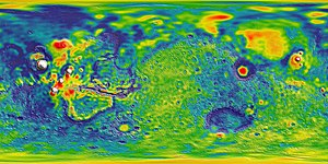 Gravity of Mars - Image: GMM 3 Free air gravity anomaly