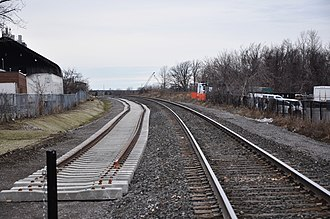 Barrie line - Second track under construction in 2015 between Rutherford and York University stations
