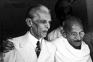 All-India Jamhur Muslim League - Muhammad Ali Jinnah with Mohandas Karamchand Gandhi before the partition of India