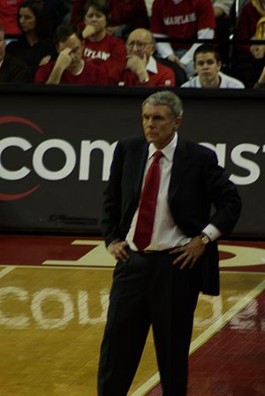 Gary Williams on the court during the Maryland...
