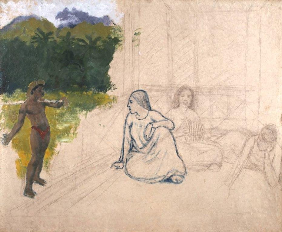 Tableau : Tahitiens ou Tahitiennes au repos par Gauguin (1890).