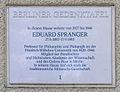 Gedenktafel Fabeckstr 13 (Dahl) Eduard Spranger.JPG