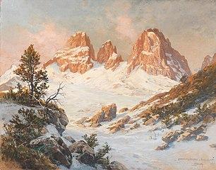 Langkofelgruppe seen from the Pordoijoch