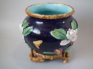 Victorian majolica - George Jones majolica flower-pot, coloured lead glazes on 'biscuit', then fired