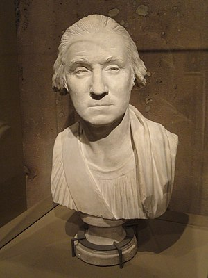 George Washington (Houdon) - During the design process, Houdon produced this plaster bust of Washington in 1786. He later revised it before making the final statue. (National Portrait Gallery)