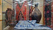 A blue tablecloth at a folk art museum in Tbilisi.