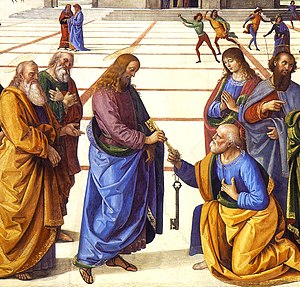 Primacy of Peter - Christ Handing the Keys to St Peter, by Pietro Perugino (1481–82)