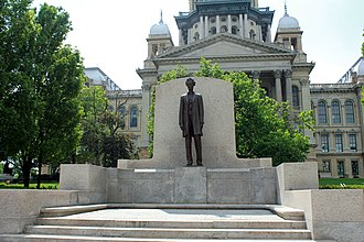 Illinois State Capitol - Lincoln by Andrew O'Connor at East Front of Capitol