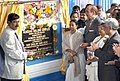Ghulam Nabi Azad and the Chief Minister of West Bengal, Kum. Mamata Banerjee jointly unveiling the plaque of the Foundation Stone for Super Speciality Block Building Complex and inauguration of Academic Building Complex.jpg