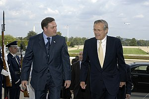 Giorgi Baramidze - Baramidze (left) with U.S. Secretary of Defense Donald Rumsfeld in the Pentagon