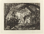Giovanni Battista Piranesi - Le Carceri d'Invenzione - Second Edition - 1761 - 10 - Prisoners on a Projecting Platform.jpg