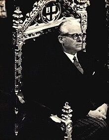 Il Presidente della Repubblica Giovanni Gronchi nel 1961.