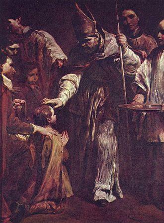Pietro Ottoboni (cardinal) - The Confirmation, from the Seven Sacraments series by Giuseppe Maria Crespi. Staatliche Kunstsammlungen, Dresden