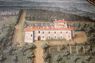 Villa La Magia - The villa in about 1600, from a lunette painted by Giusto Utens