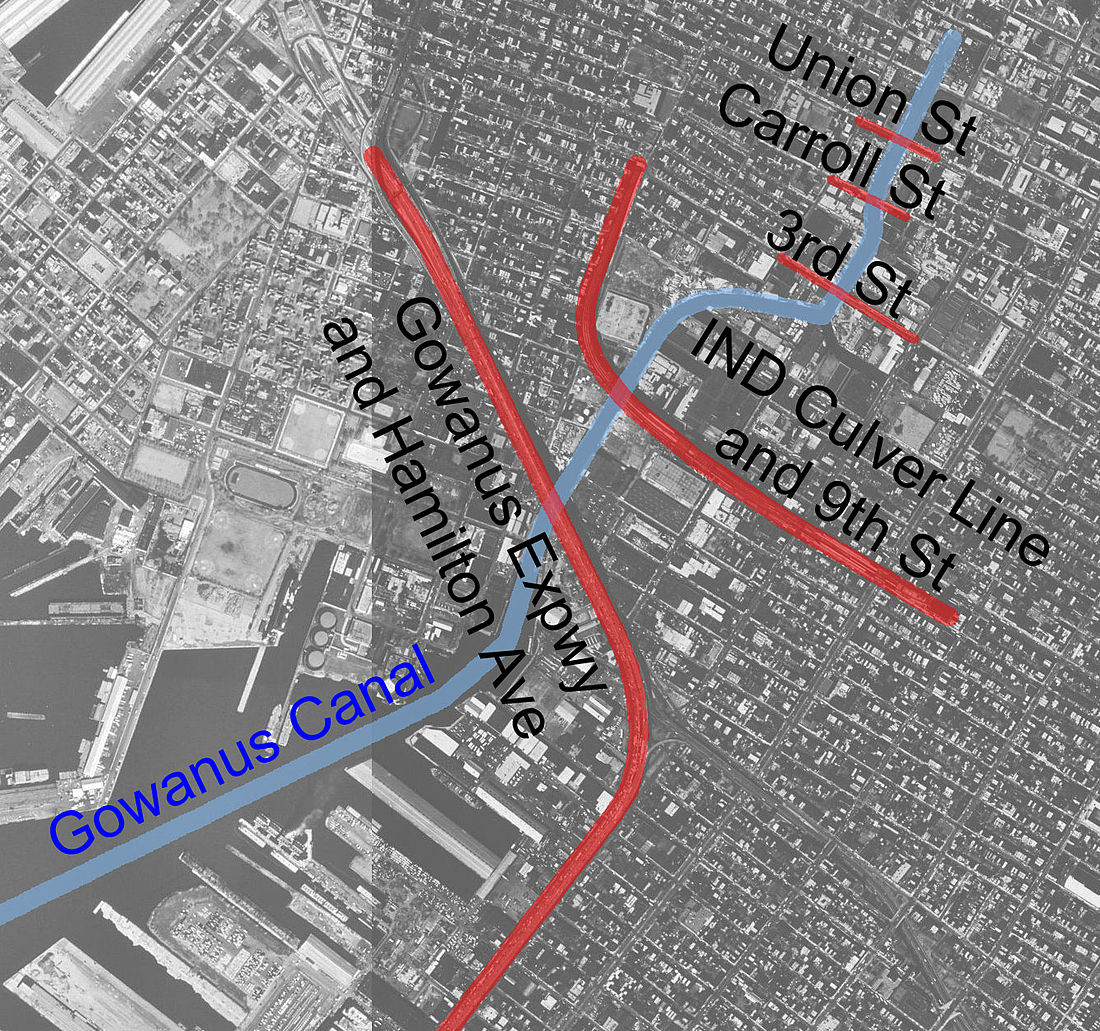 The outside Artyard, in the center is the empty block on the left side of the Gowanus Canal (blue line), directly above the large building adjacent to 9th Street (bottom center), and west of the IND Culver Line viaduct (red line).