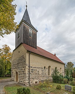 Village church (view from the cemetery) in Groß Glienicke, Potsdam, Germany