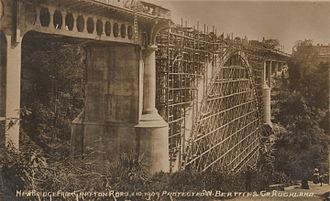 Grafton Bridge - Photograph of Grafton Bridge during construction, with scaffolding beneath the single main arch