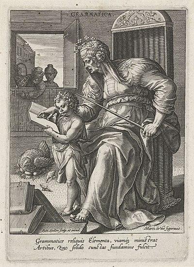 Grammatica, Johann Sadeler (I), after Maerten de Vos, Cornelis Cort, and Frans Floris (I), 1560 - 1600, engraving, 15.0 by 10.8 cm