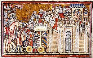 2972bddcf87 Miniatura (século XIII)) da Gran Conquista de Ultramar dum assalto dos  Cruzados contra um castelo muçulmano (século XIII)). Pedro Gonçalves ...
