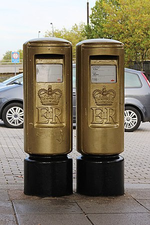Greg Rutherford - Pair of post boxes in Milton Keynes painted gold in honour of Rutherford