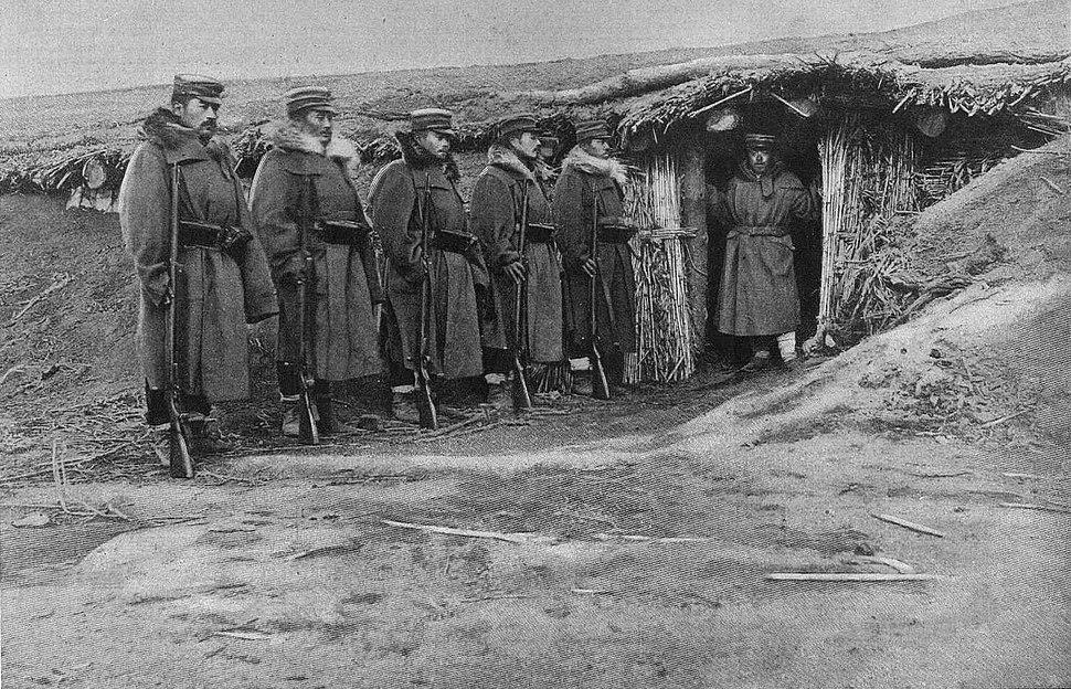 Guerra ruso-japonesa, entrada del alojamiento del general Asaki, delante de Sandep%C3%BA