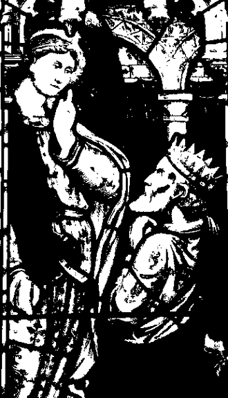 Gwynllyw - Drawing of an old window showing Gwynllyw kneeling before an angel.