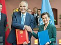 H.E Mr. Salaheddine Mezouar, and UNFCCC Executive Secretary Christiana Figueres during the signing ceremony of the Host Country Agreement for COP 22-CMP 11.jpg