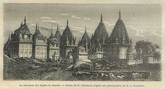 Jhansi State - A drawing of the necropolis of the Rajahs of Jhansi, 1872