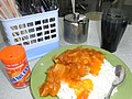 HK Sheung Wan Jervois Street Golden Sun Fast Food Restaurant 碟頭飯 rice dish in orange 阿華田 Ovaltine coke July-2012.JPG
