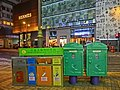 HK TST night Canton Road Lettler Box n Litter Cum Recyclables Collection Bin Nov-2013.JPG