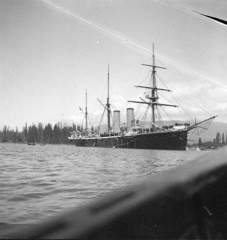 HMS Amphion (1883) - Image: HMS Amphion in Canada 1900