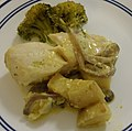 Halibut in crean sauce, broccoli and yams.jpg