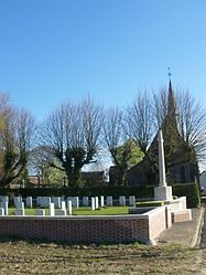The military cemetery and church of Hannescamps