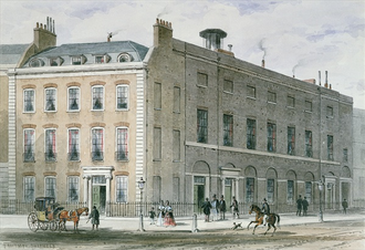 Hanover Square Rooms - The Hanover Square Rooms on the Southeast corner of Hanover Square (l) and Hanover Street (r)