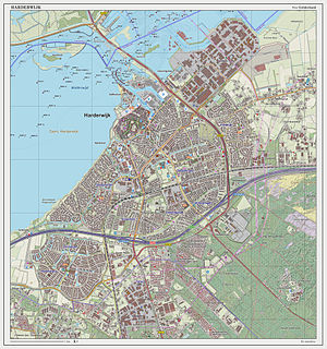Harderwijk - Dutch Topographic map of Harderwijk (town), March 2014