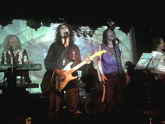 Harvey Bainbridge - Harvey Bainbridge (left) on stage with the Hawkwind spin-off Hawklords, live in Germany 2012