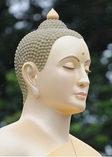 Head of a Buddha image, as designed by sculptors from Wat Phra Dhammakaya