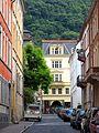 Heidelberger Altstadt, Querstrasse zur Hauptstrasse, die Bienenstrasse mit Blick in die Hauptstrasse und auf den Gaisberg 1746.jpg