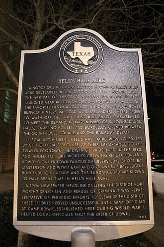 Hell's Half Acre (Fort Worth) - Texas historical marker located at 12th and Houston street